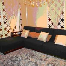 A家木色天香实木转角沙发