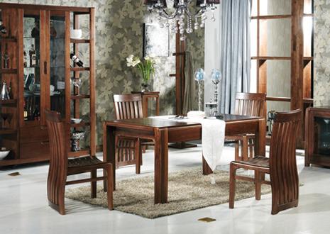 弗沃德 胡桃木一桌四椅